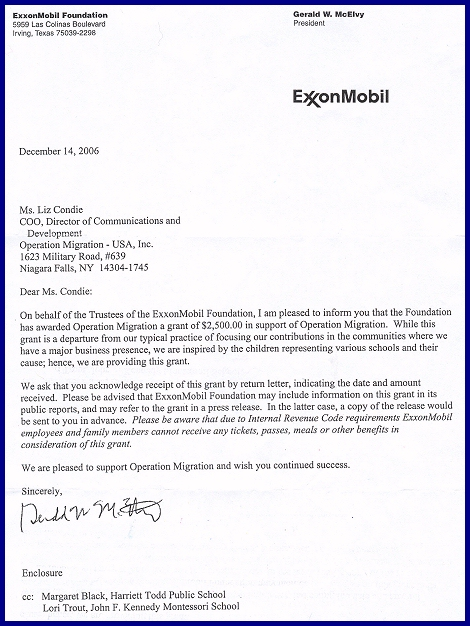 Whooping Crane Central Letter From ExxonMobil